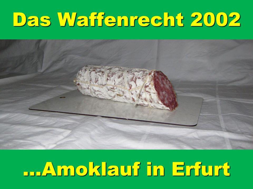 Das Waffenrecht 2002 …Amoklauf in Erfurt