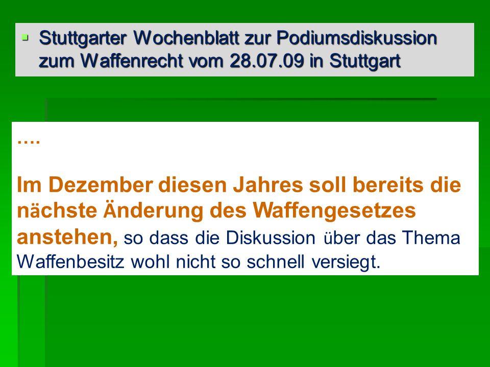 Stuttgarter Wochenblatt zur Podiumsdiskussion zum Waffenrecht vom 28