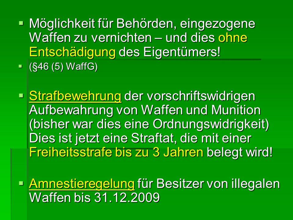 Amnestieregelung für Besitzer von illegalen Waffen bis 31.12.2009