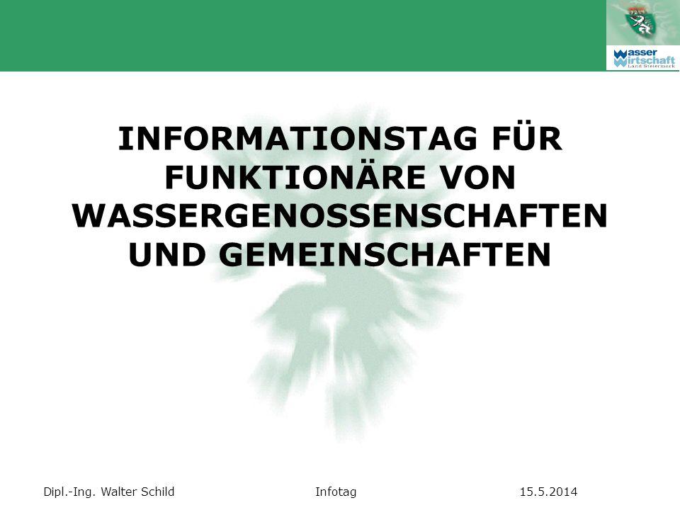 INFORMATIONSTAG FÜR FUNKTIONÄRE VON WASSERGENOSSENSCHAFTEN UND GEMEINSCHAFTEN