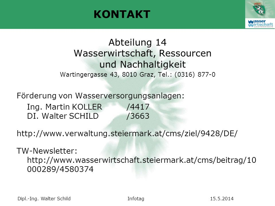 KONTAKT Abteilung 14 Wasserwirtschaft, Ressourcen und Nachhaltigkeit