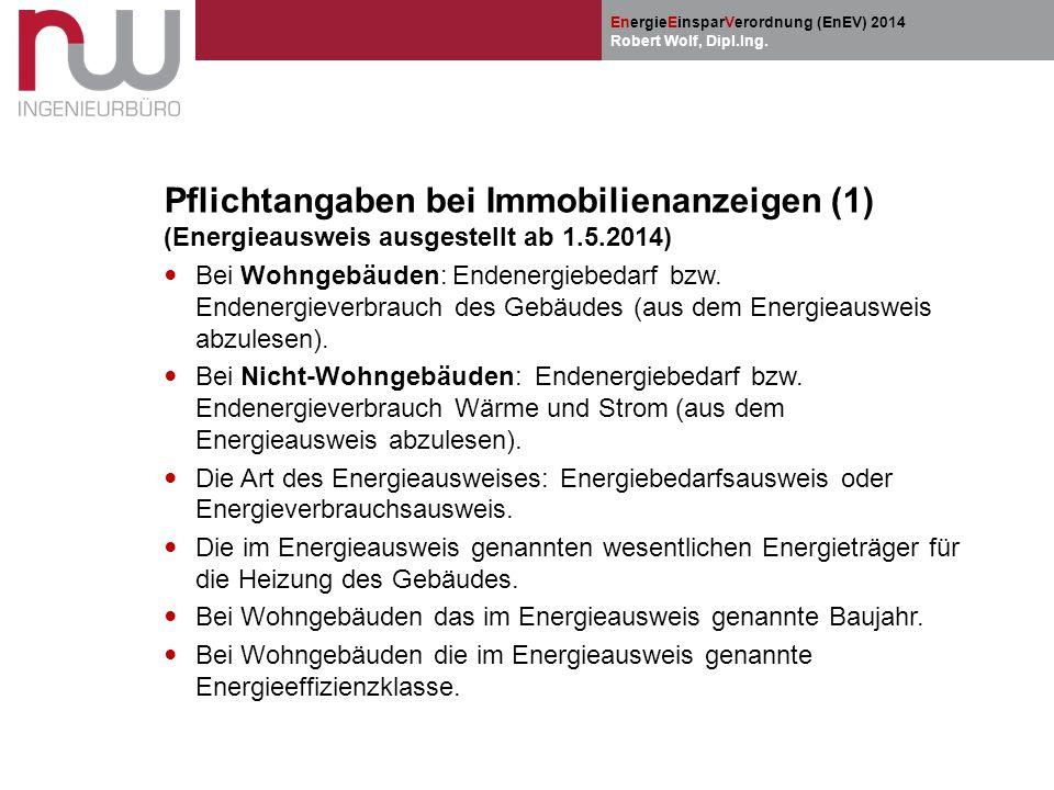Pflichtangaben bei Immobilienanzeigen (1) (Energieausweis ausgestellt ab 1.5.2014)