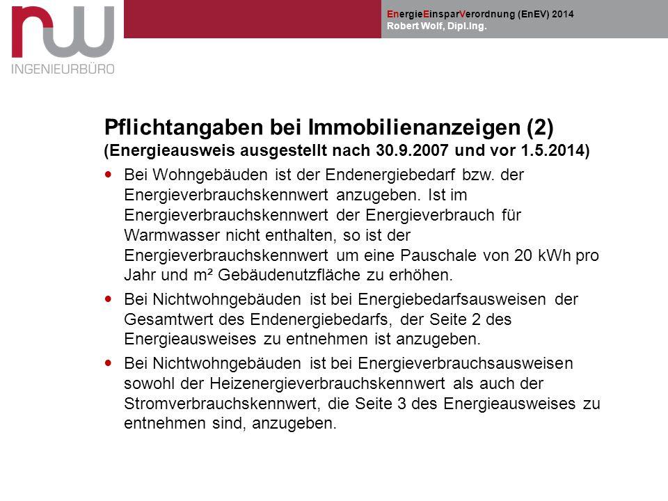 Pflichtangaben bei Immobilienanzeigen (2) (Energieausweis ausgestellt nach 30.9.2007 und vor 1.5.2014)