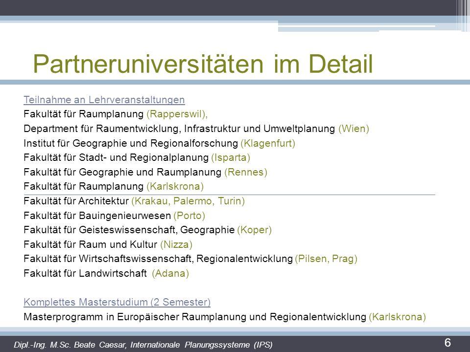 Partneruniversitäten im Detail