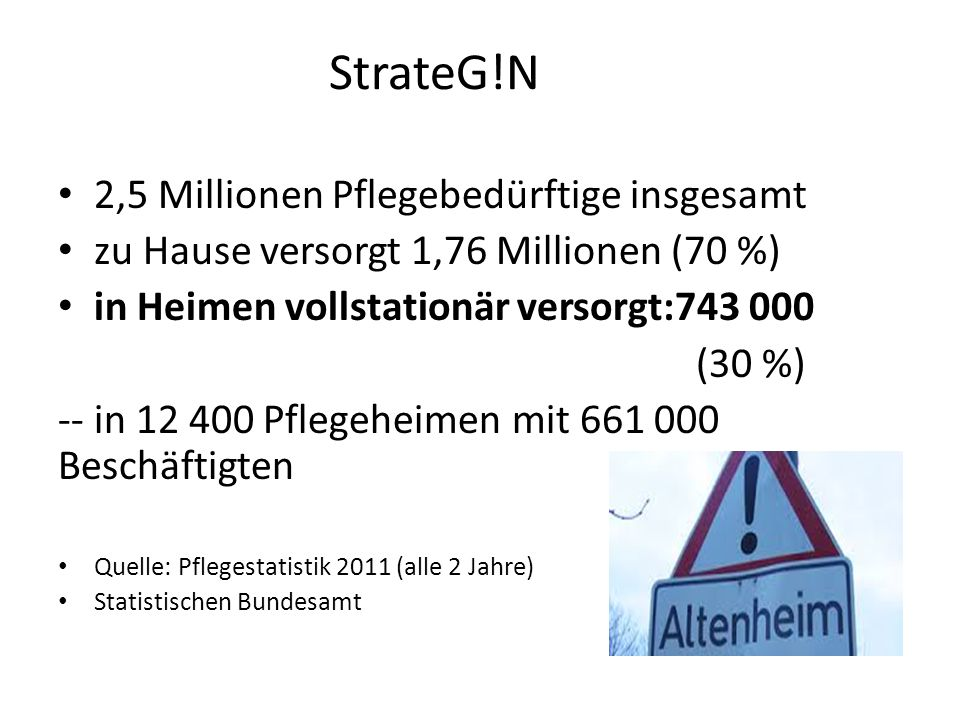 StrateG!N 2,5 Millionen Pflegebedürftige insgesamt