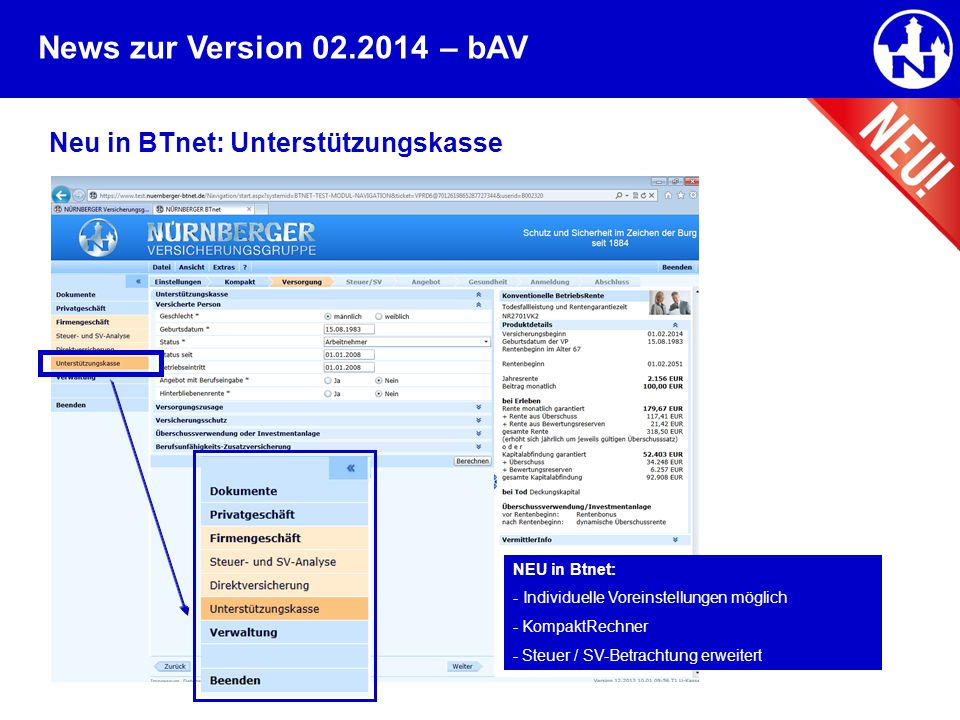 – bAV Neu in BTnet: Unterstützungskasse NEU in Btnet: