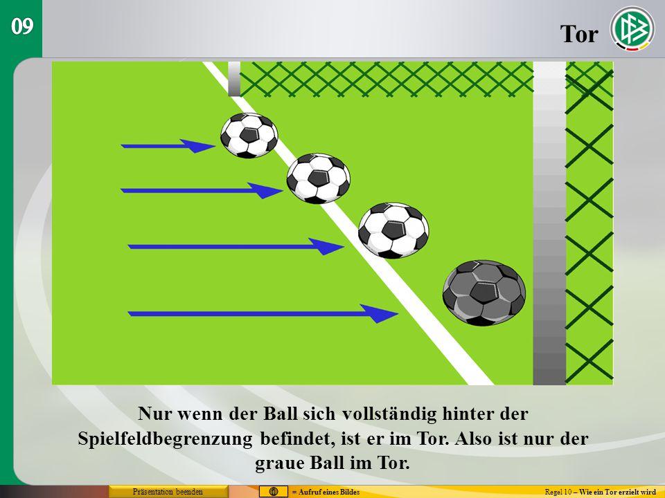 09 Tor. Nur wenn der Ball sich vollständig hinter der Spielfeldbegrenzung befindet, ist er im Tor. Also ist nur der graue Ball im Tor.