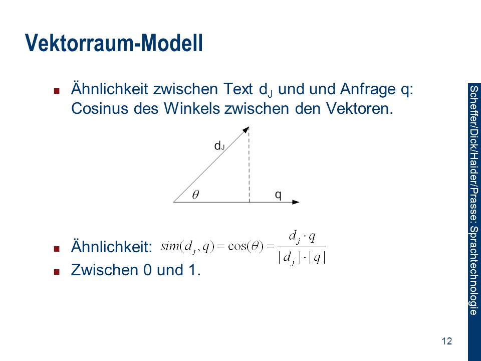 Vektorraum-Modell Ähnlichkeit zwischen Text dJ und und Anfrage q: Cosinus des Winkels zwischen den Vektoren.