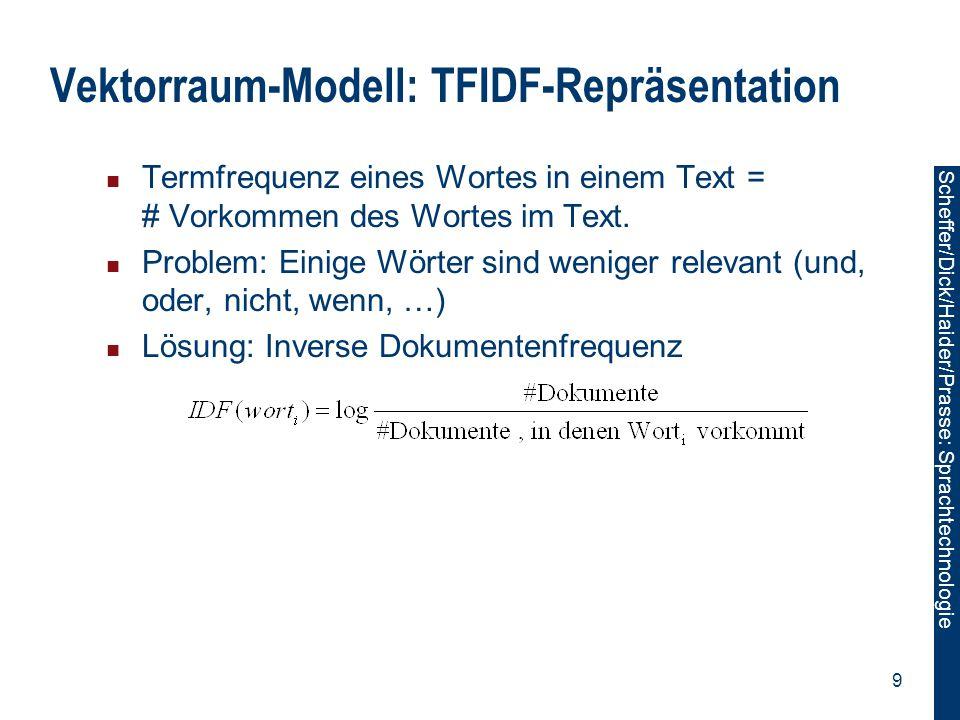 Vektorraum-Modell: TFIDF-Repräsentation