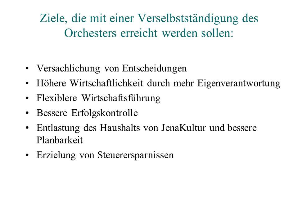 Ziele, die mit einer Verselbstständigung des Orchesters erreicht werden sollen:
