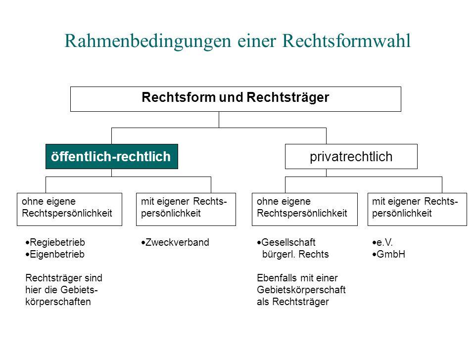 Rahmenbedingungen einer Rechtsformwahl