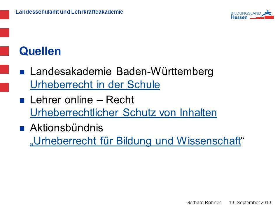 Quellen Landesakademie Baden-Württemberg Urheberrecht in der Schule