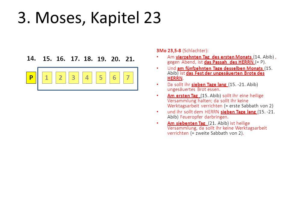 3. Moses, Kapitel 23 3Mo 23,5-8 (Schlachter): Am vierzehnten Tag des ersten Monats (14. Abib) , gegen Abend, ist das Passah des HERRN (= P).