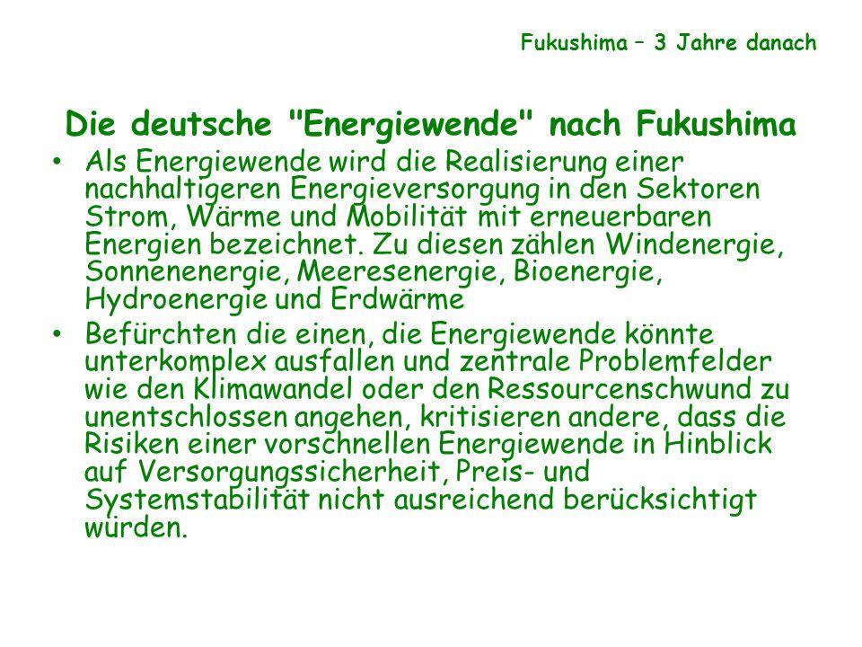 Die deutsche Energiewende nach Fukushima