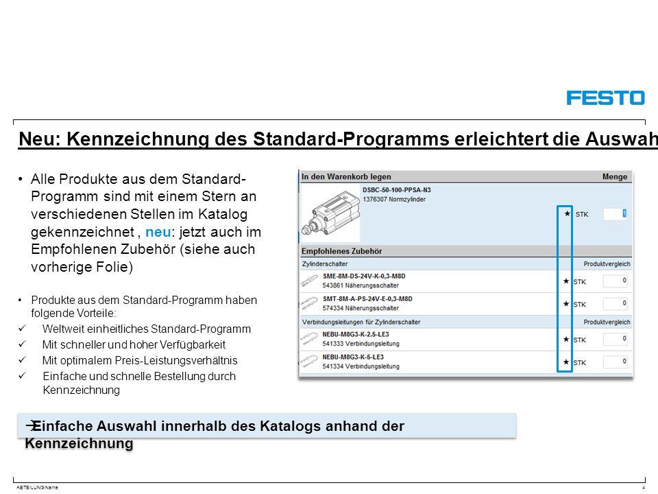 Neu: Kennzeichnung des Standard-Programms erleichtert die Auswahl