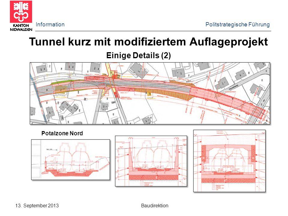 Tunnel kurz mit modifiziertem Auflageprojekt