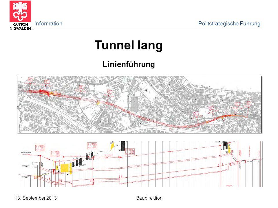 Tunnel lang Linienführung Information Politstrategische Führung