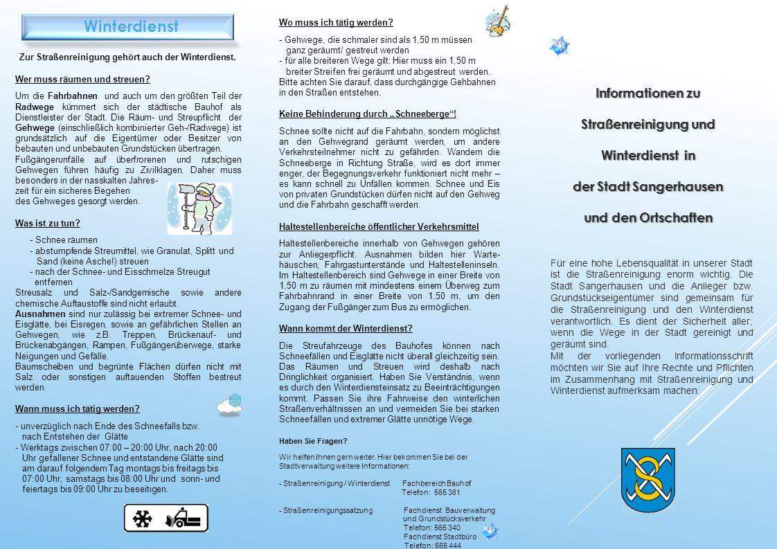 Winterdienst Informationen zu Straßenreinigung und Winterdienst in