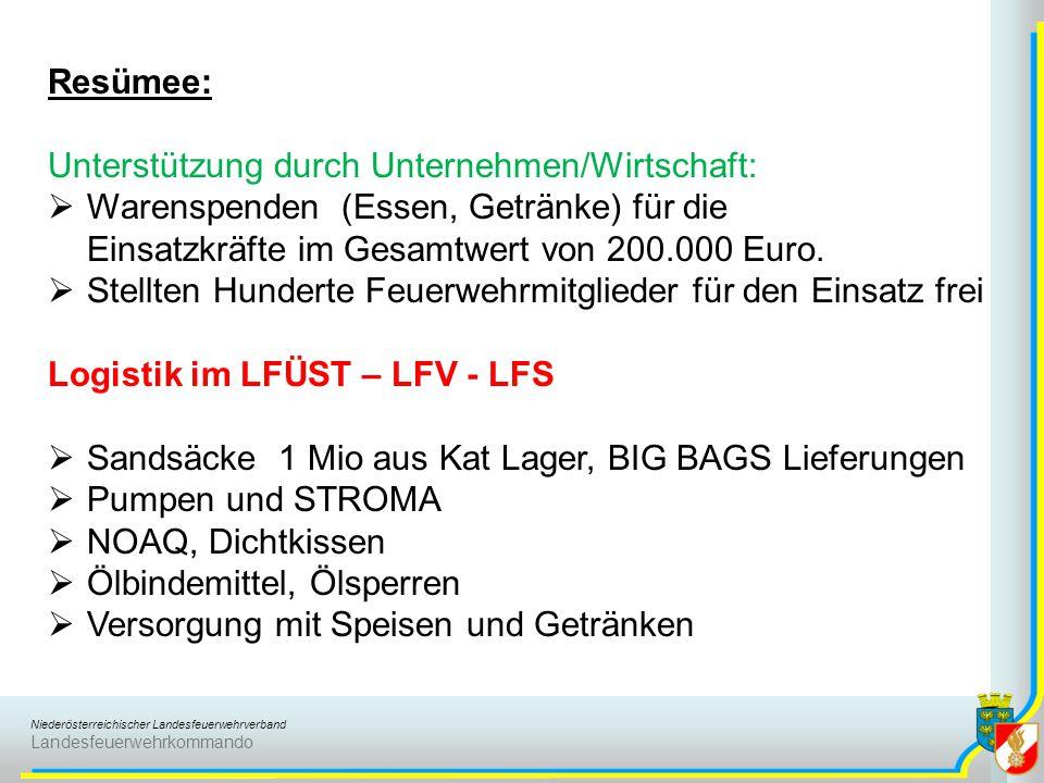 Resümee: Unterstützung durch Unternehmen/Wirtschaft: Warenspenden (Essen, Getränke) für die Einsatzkräfte im Gesamtwert von 200.000 Euro.