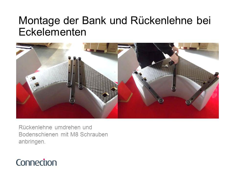 Montage der Bank und Rückenlehne bei Eckelementen