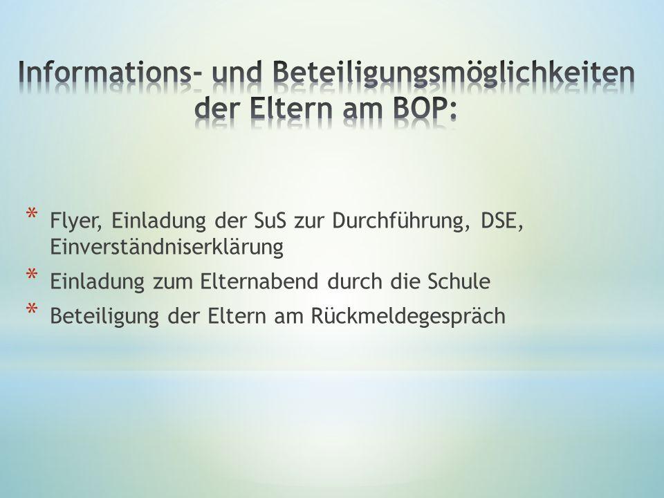 Informations- und Beteiligungsmöglichkeiten der Eltern am BOP: