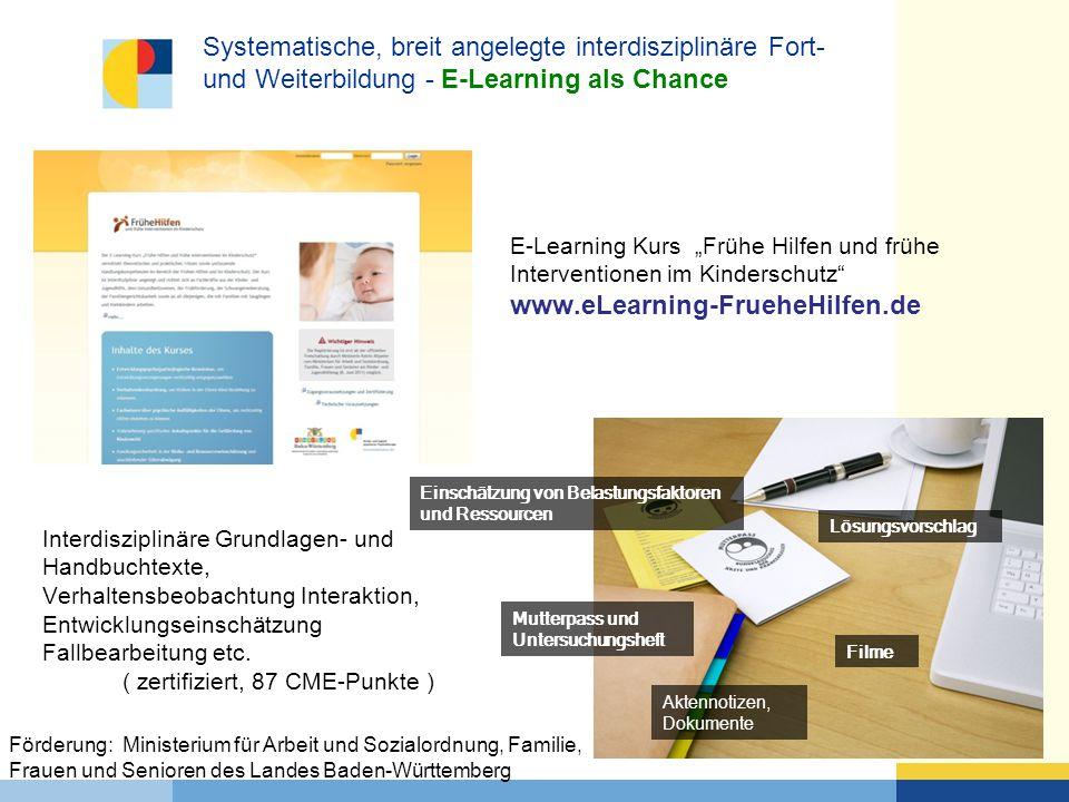 Systematische, breit angelegte interdisziplinäre Fort- und Weiterbildung - E-Learning als Chance