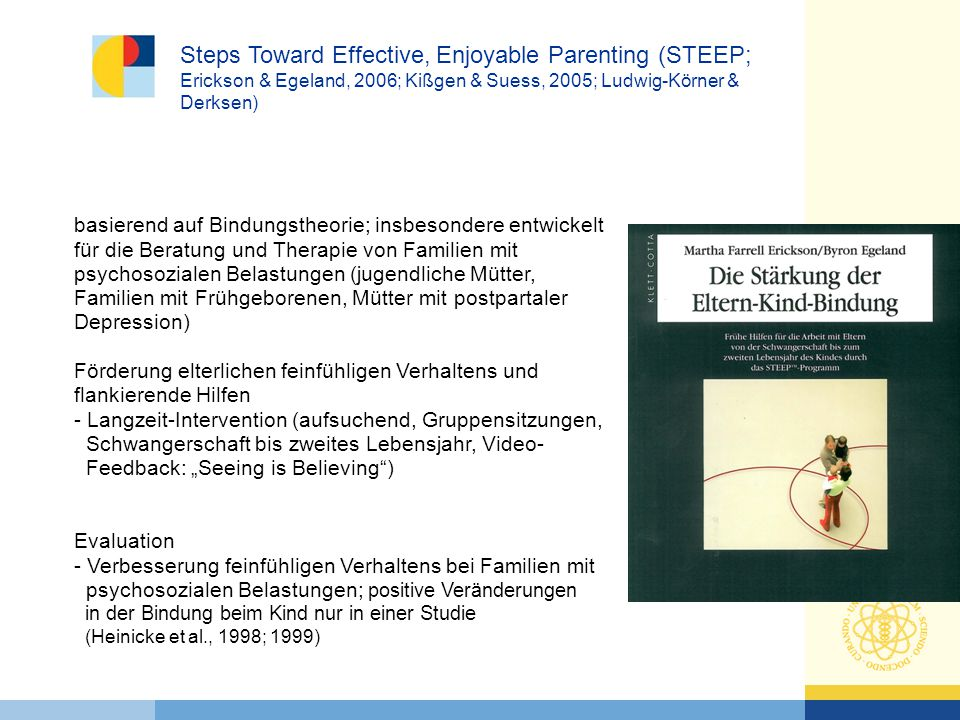 Steps Toward Effective, Enjoyable Parenting (STEEP; Erickson & Egeland, 2006; Kißgen & Suess, 2005; Ludwig-Körner & Derksen)