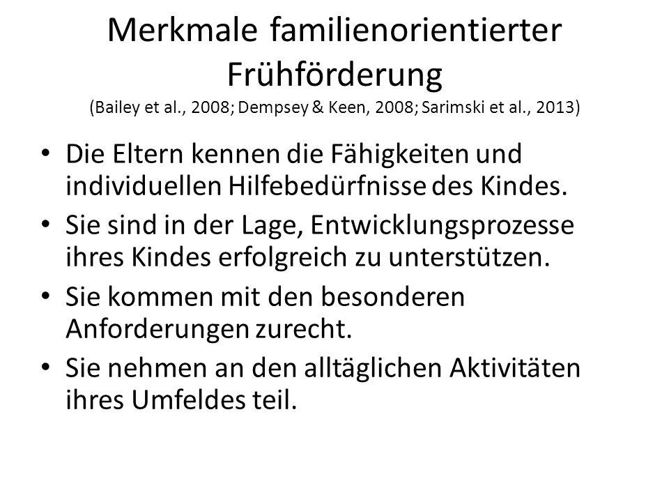 Merkmale familienorientierter Frühförderung (Bailey et al