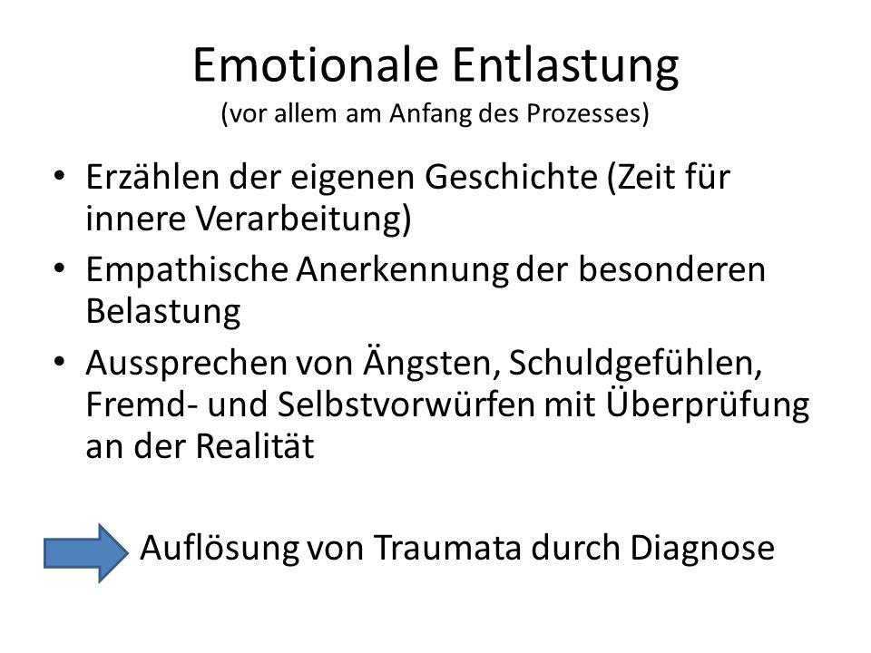 Emotionale Entlastung (vor allem am Anfang des Prozesses)