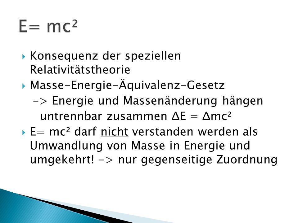 E= mc² Konsequenz der speziellen Relativitätstheorie