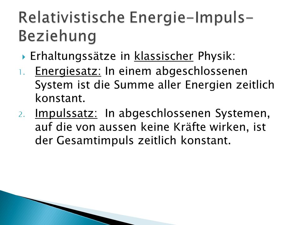Relativistische Energie-Impuls-Beziehung