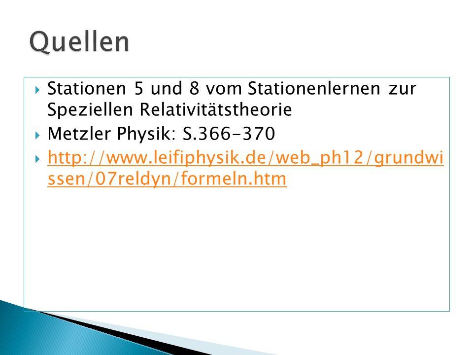 Quellen Stationen 5 und 8 vom Stationenlernen zur Speziellen Relativitätstheorie. Metzler Physik: S.366-370.