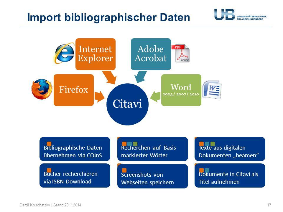Citavi Import bibliographischer Daten Firefox Internet Explorer