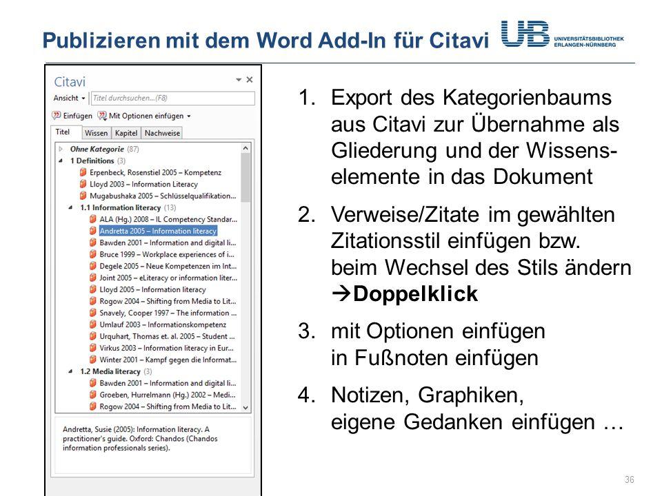 Publizieren mit dem Word Add-In für Citavi