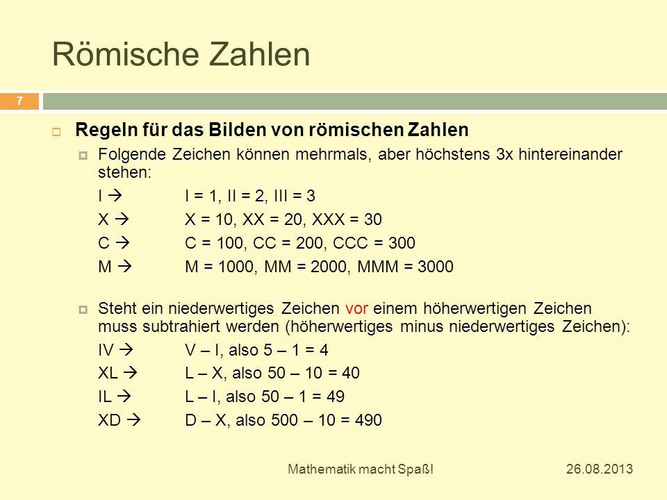 Römische Zahlen Regeln für das Bilden von römischen Zahlen