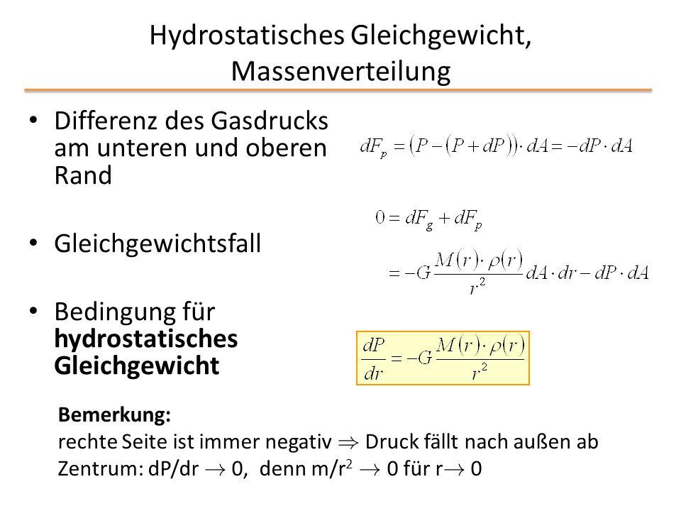 Hydrostatisches Gleichgewicht, Massenverteilung