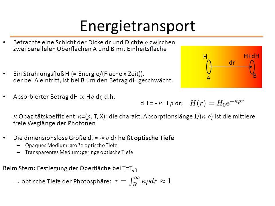Energietransport Betrachte eine Schicht der Dicke dr und Dichte ½ zwischen zwei parallelen Oberflächen A und B mit Einheitsfläche.