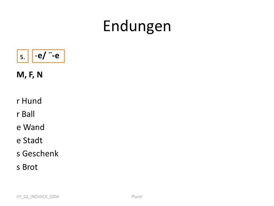 Endungen 5. -e/ ¨-e. M, F, N r Hund r Ball e Wand e Stadt s Geschenk s Brot VY_22_INOVACE_0204.