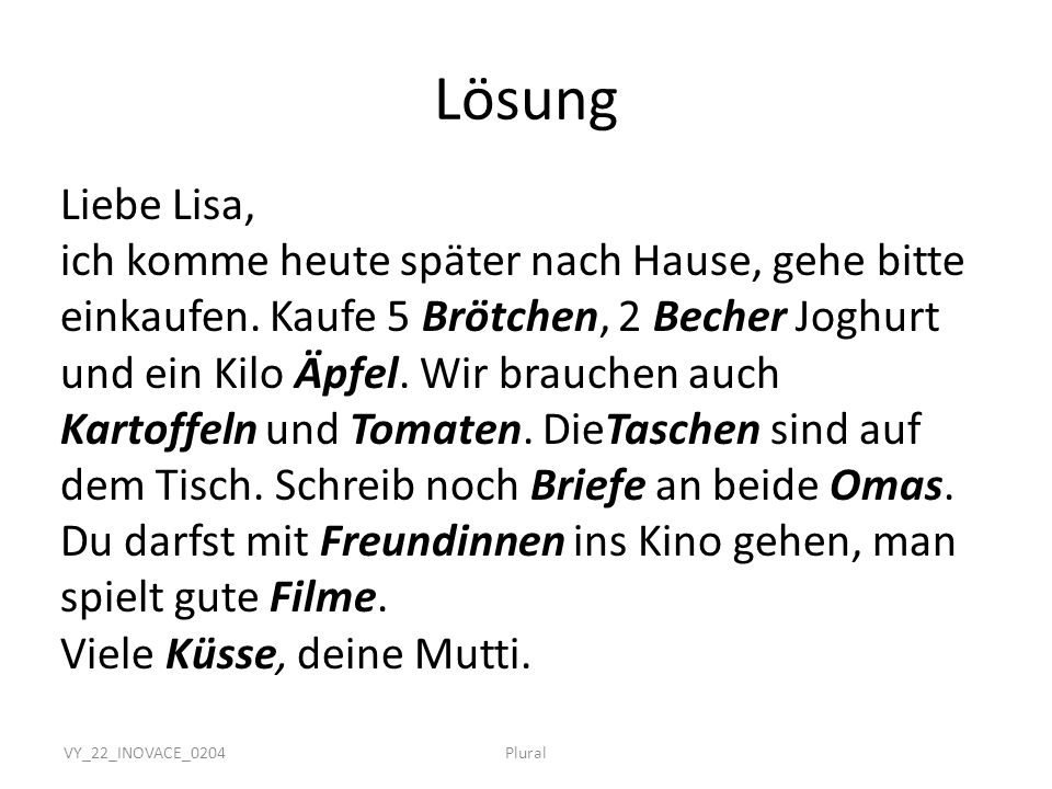 Lösung Liebe Lisa,