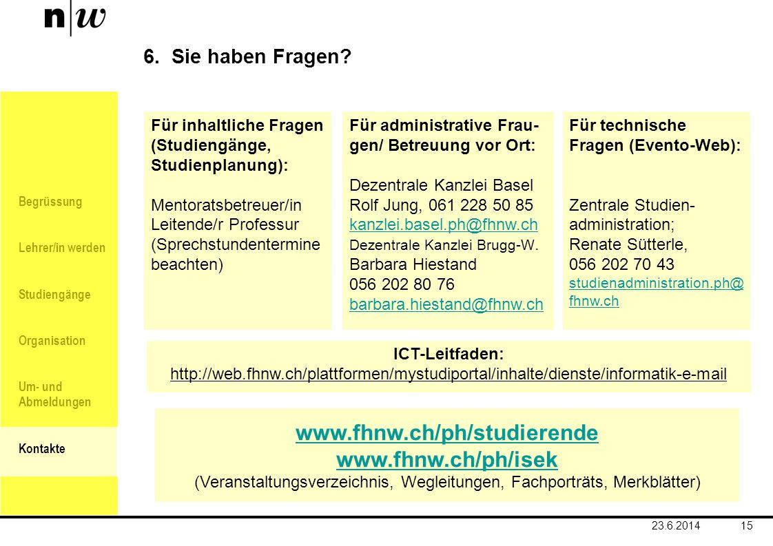 (Veranstaltungsverzeichnis, Wegleitungen, Fachporträts, Merkblätter)