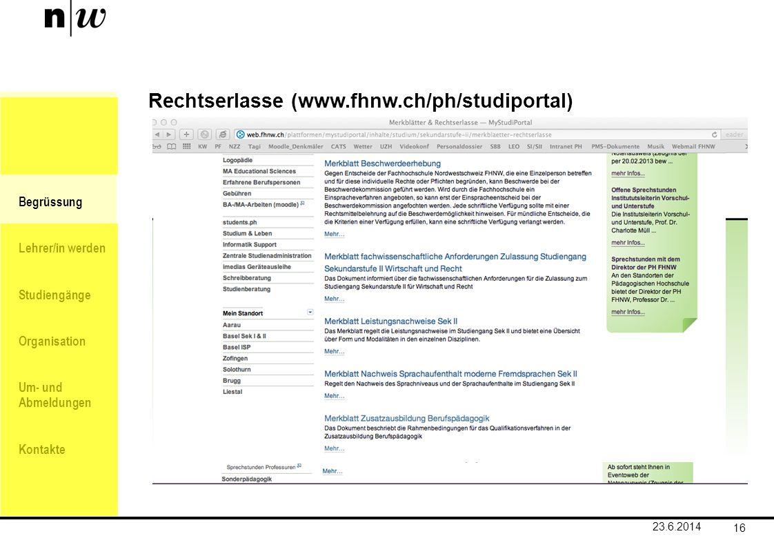 Rechtserlasse (www.fhnw.ch/ph/studiportal)