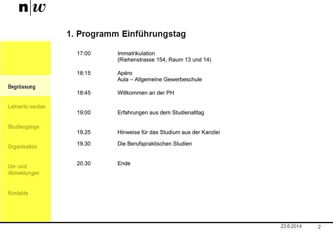 1. Programm Einführungstag