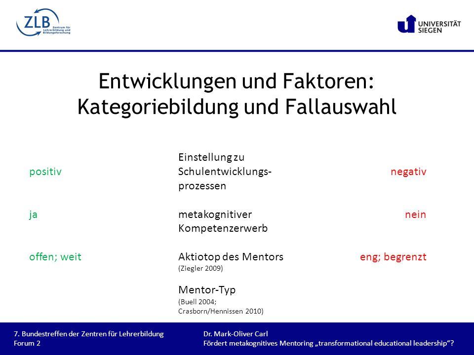 Entwicklungen und Faktoren: Kategoriebildung und Fallauswahl