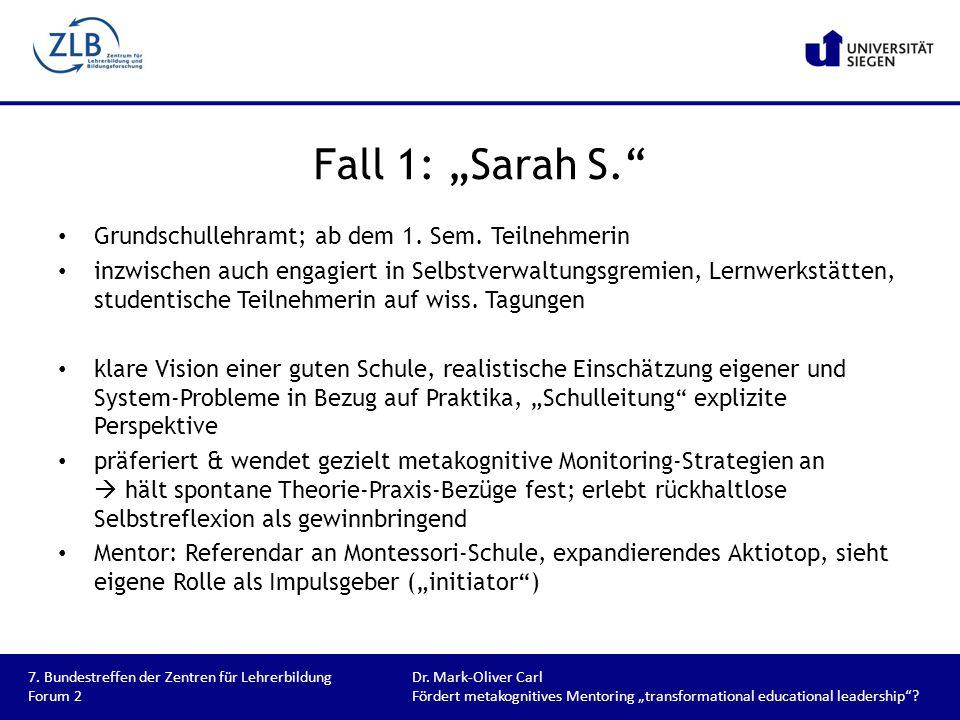 """Fall 1: """"Sarah S. Grundschullehramt; ab dem 1. Sem. Teilnehmerin"""