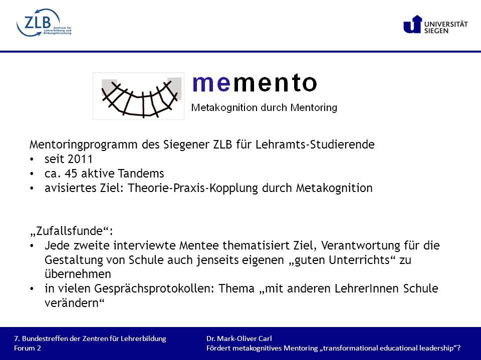 Mentoringprogramm des Siegener ZLB für Lehramts-Studierende