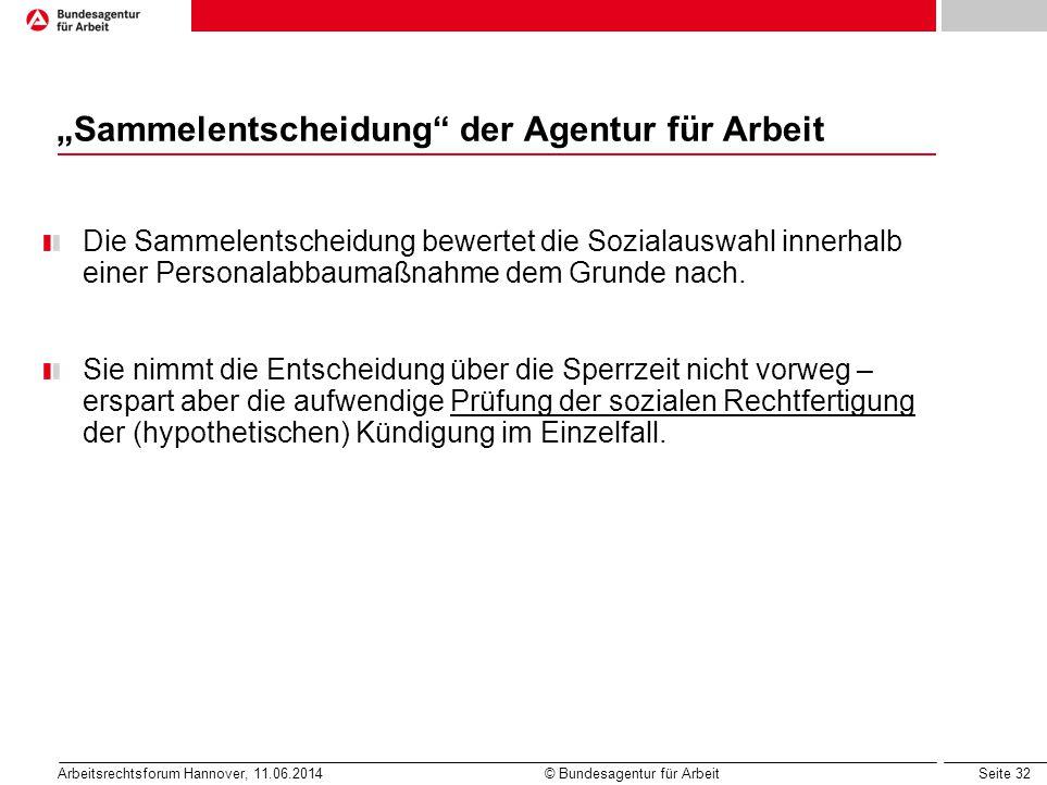"""""""Sammelentscheidung der Agentur für Arbeit"""