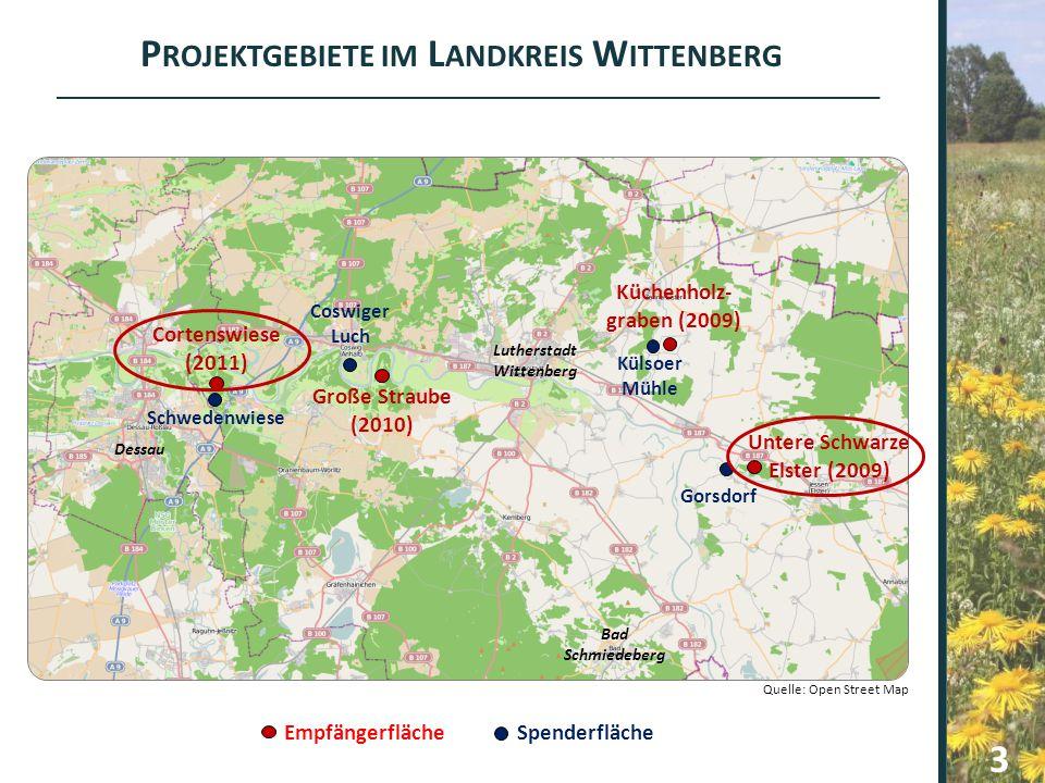Projektgebiete im Landkreis Wittenberg Untere Schwarze Elster (2009)
