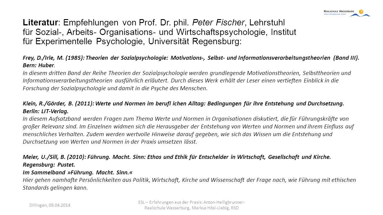 Literatur: Empfehlungen von Prof. Dr. phil