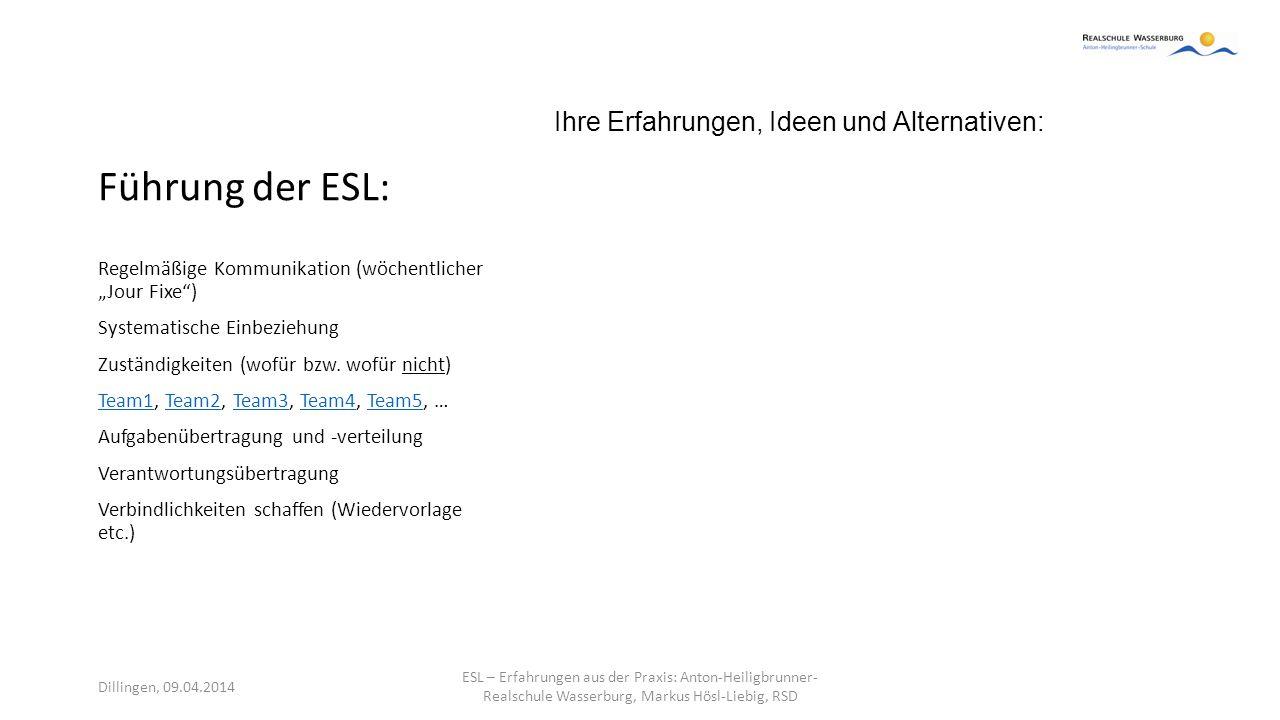 Führung der ESL: Ihre Erfahrungen, Ideen und Alternativen: