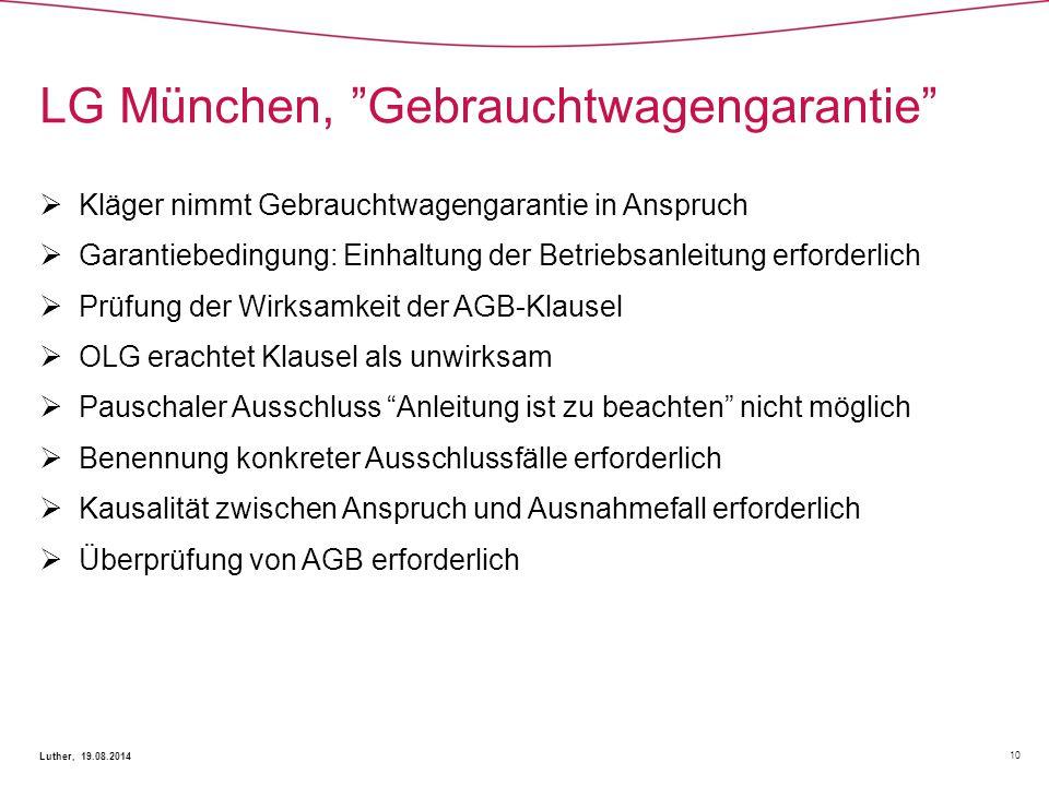LG München, Gebrauchtwagengarantie